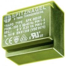 Spitznagel SPK 0380606 Trasformatore per PCB 1 x 230 V 2 x 6 V/AC 3.8 VA 317 mA
