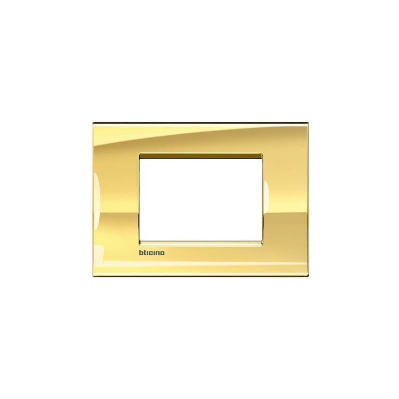 Placca serie Bticino living light in metallo, colore oro freddo, finitura METALS. prezzi costi