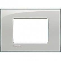 Placca LivingLight Bticino Quadra Grigio Ghiaccio LNA4803KG 3 Moduli