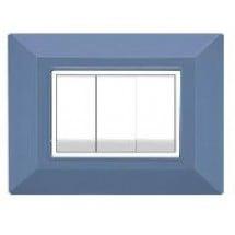 Placca Compatibile Bticino Axolute Azzurro 3, 4 Posti Tecnopolimero Abs