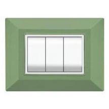 Placca Compatibile Bticino Axolute Verde Menta 3, 4 Posti Tecnopolimero Abs