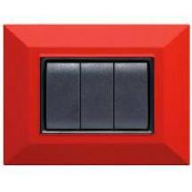 Placca Compatibile Bticino Axolute Rossa Rubino 3, 4 Posti Tecnopolimero Abs