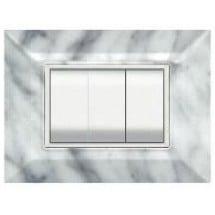 Placca Compatibile Bticino Axolute Marmo Carrara 3, 4 Moduli Tecnopolimero