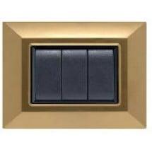 Placca Compatibile Bticino Axolute Oro Satinato 3, 4 Posti Tecnopolimero