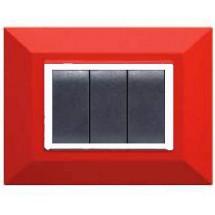 Placca compatibile Bticino Axolute, colore rubino rosso, 3 o 4 moduli prezzi costi rossa