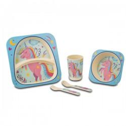 Servizio Piatti Bamboo Baby Unicorno Pz 5 Nava 10-187-016