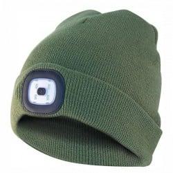 Berretto Cuffia Luce Led Verde Militare Velamp CAP05