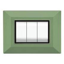Placca Feb Elettrica Plain Flexì, colore verde menta, 3 o 4 moduli prezzi costi