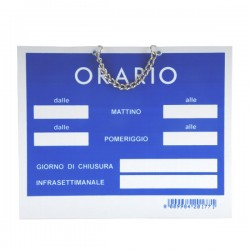 Cartello Orario Apertura Tempopol Blu Cm 15X11 T00177
