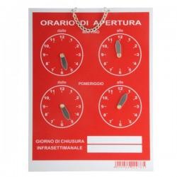 Cartello Orario 4 Orologi Tempopol Rosso Cm 16X21 T00278