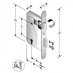 Serratura Patent Mm 8X70 E40 Bt Bronzata Gb 48 042 040 ME