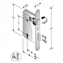 Serratura Patent Mm 8X70 E45 Bt Bronzata Gb 48 042 045 ME