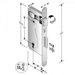 Serratura Patent Mm 8X90 E45 Bt Bronzata Gb 48 040 045 ME