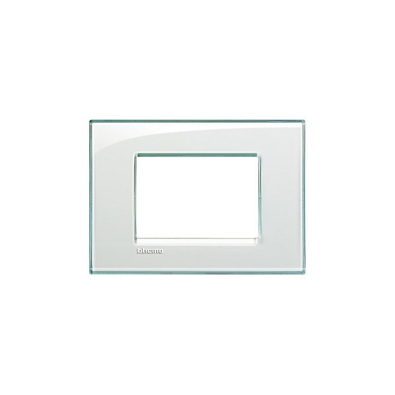 Placchetta Living Light Bticino in Tecnopolimero, Finitura Kristall, forma quadrata, colore acqua marina, 3 posti, prezzo.