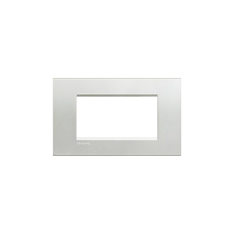 Placca Living Light in Metallo con Finitura Naturalia, 4 Posti, forma rettangolare Quadra, colore Argento, codice LNA4804AG.