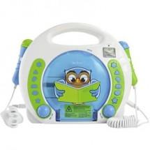 X4 Tech Bobby Joey Lese Eule Lettore CD per bambini USB, SD incl. Microfono, incl. funzione karaoke Blu, Bianco