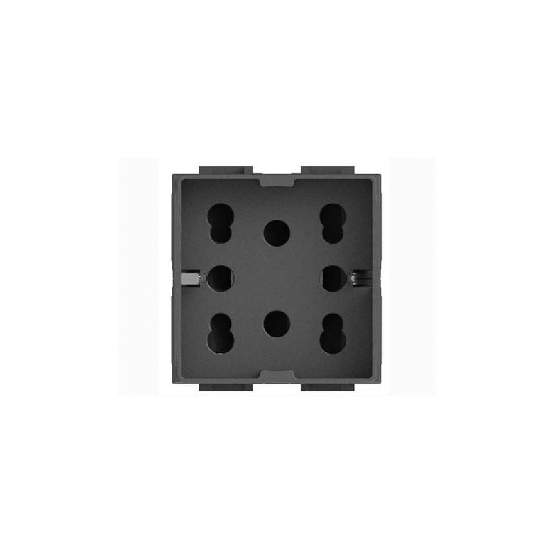 Presa elettrica 4box bipasso schuko 10 16a 2 moduli for Placche prese elettriche