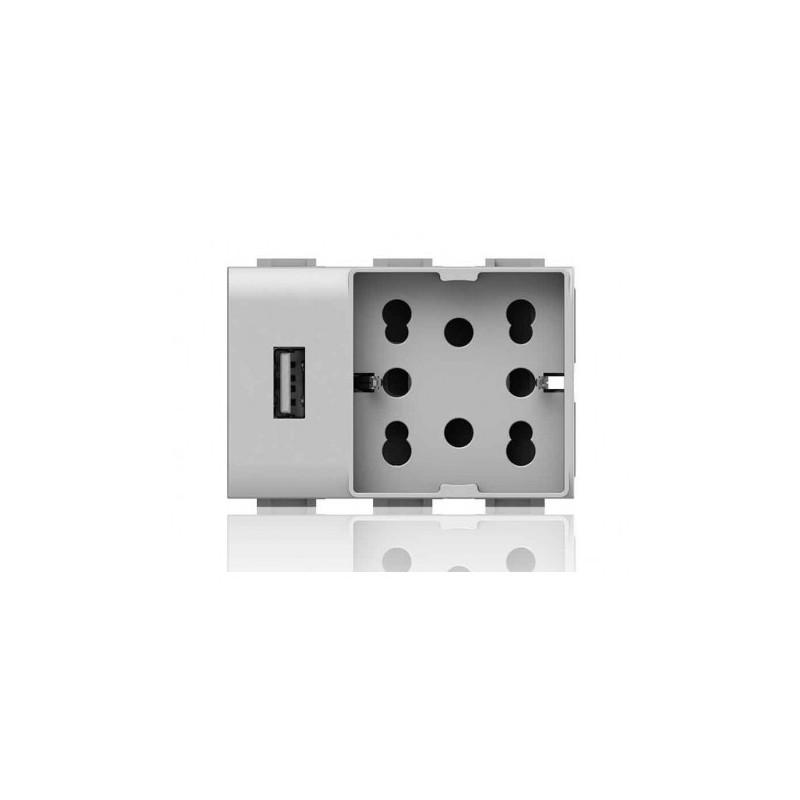 Presa Elettrica 4Box Universale Bipasso Schuko USB 3 Moduli Compatibile Vimar Plana