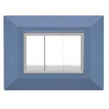 Placca Compatibile Bticino International e Living Light Azzurro 3, 4, 7 Posti Tecnopolimero