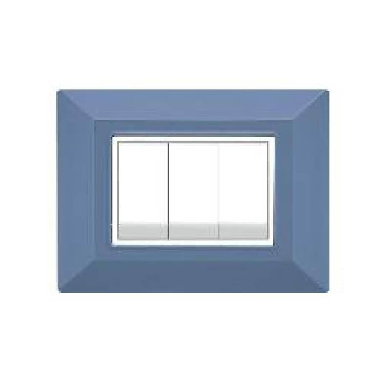 Placca Compatibile Bticino International e Living Light Azzurro 3, 4, 7 Posti Tecnopolimero