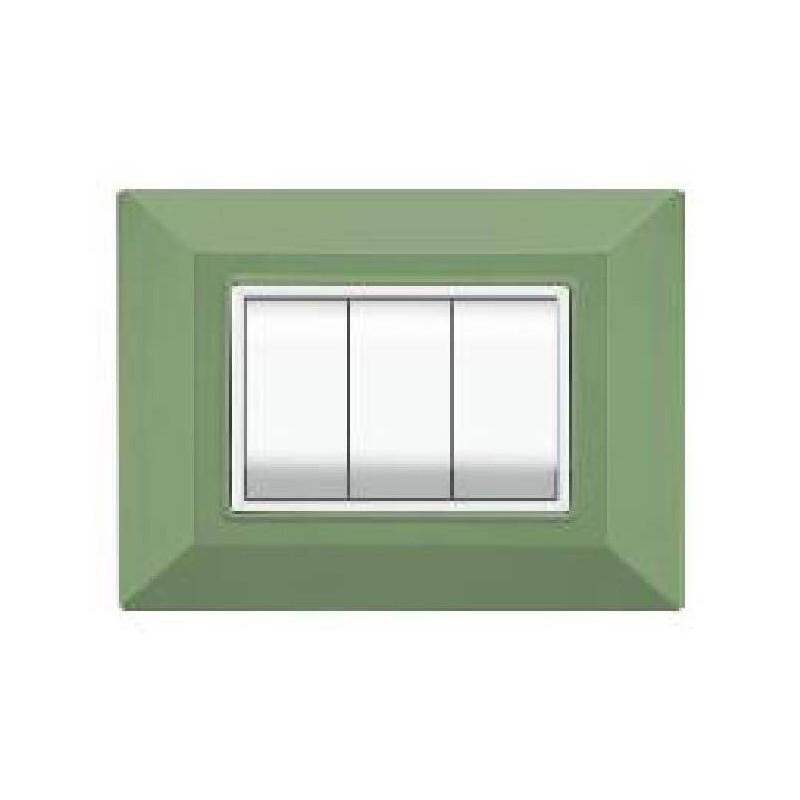 Placca Compatibile Bticino International e Living Light Verde Menta 3, 4, 7 Posti Tecnopolimero