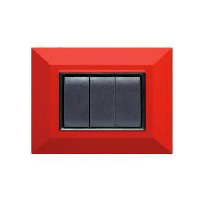 Placca Compatibile Bticino International e Living Light Rossa Rubino 3, 4, 7 Posti Tecnopolimero