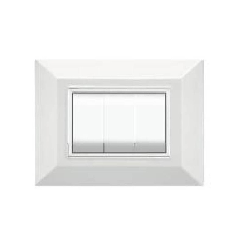 Placca Compatibile Bticino International e Living Light Bianca 3, 4, 7 Posti Tecnopolimero