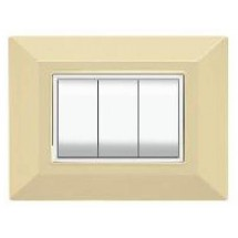Placca Compatibile Bticino International e Living Light Avorio 3, 4, 7 Posti Tecnopolimero