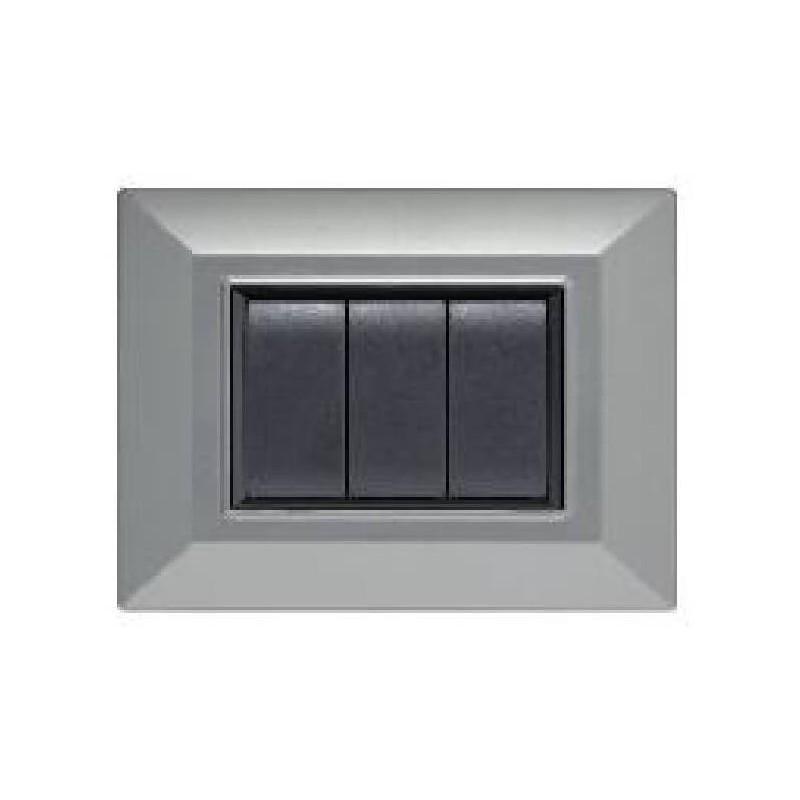 Placca Compatibile Bticino International e Living Light Alluminio Chiaro 3, 4, 7 Posti Tecnopolimero