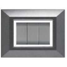 Placca Compatibile Bticino International e Living Light Acciaio Spazzolato 3, 4, 7 Posti Tecnopolimero