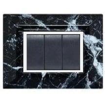 Placca Compatibile Vimar Eikon e Plana Marmo Nero 3, 4, 7 Moduli Tecnopolimero
