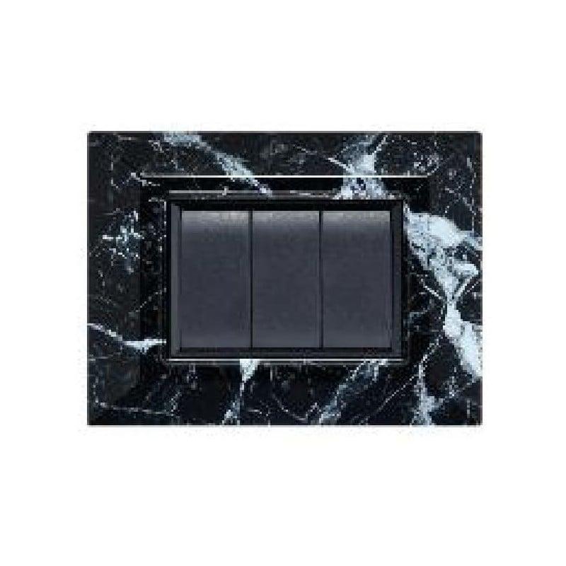 Placca Compatibile Vimar Eikon plana Marmo Nero 3, 4,7 Moduli Tecnopolimero