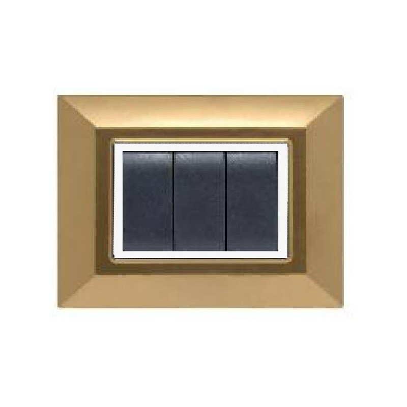 Placca Compatibile Bticino International e Living Light Oro Satinato 3, 4, 7 Posti Tecnopolimero