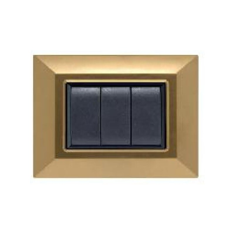 Placca Compatibile Bticino International e Living Light Oro Satinato 3, 4, 7 Posti Tecnopolimero