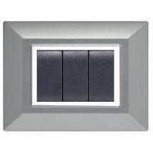 Placca Compatibile Vimar Eikon e Plana Alluminio Chiaro 3, 4, 7 Posti Tecnopolimero