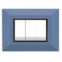 Placca Compatibile Vimar Eikon e Plana Azzurro 3, 4, 7 Posti Tecnopolimero
