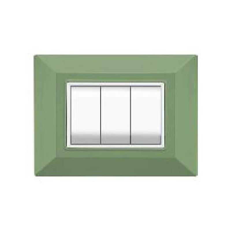 Placca Compatibile Vimar Eikon e Plana Verde Menta 3, 4, 7 Posti Tecnopolimero
