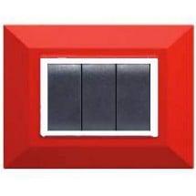 Placca Compatibile Vimar Eikon e Plana Rossa Rubino 3, 4, 7 Posti Tecnopolimero