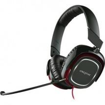 Creative Draco HS-880 Cuffia Headset per Gaming Jack 3,5 mm Filo, Stereo Cuffia Over Ear Nero, Rosso