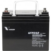 Batteria al piombo 12 V 36 Ah Vision Akkus 6FM36DX Piombo-AGM (L x A x P) 195 x 155 x 130 mm Vite M6 Esente da