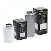 Filtro ai carboni attivi con diametro 125 mm e portata ottimale di 360 mc/h, portata massima 480 mc/h.