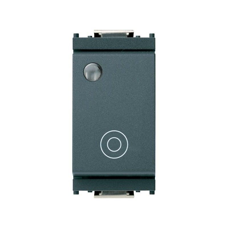 Pulsante Vimar Idea 16090 Unipolare NO 10A 230-250V Luminoso Grigio Silver prezzi costi