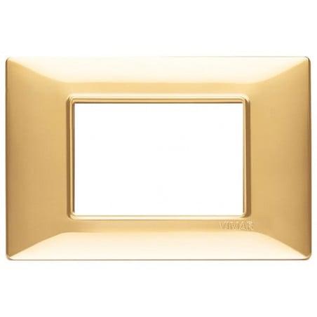 Placca Oro Lucido 3 Posti Vimar 14653.24 Plana Tecnopolimero