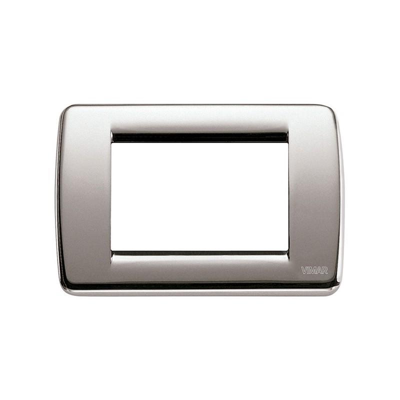 Placca in Metallo Vimar Idea 16753.34 Rondò Nichel Spazzolato 3 Posti prezzi costi costo