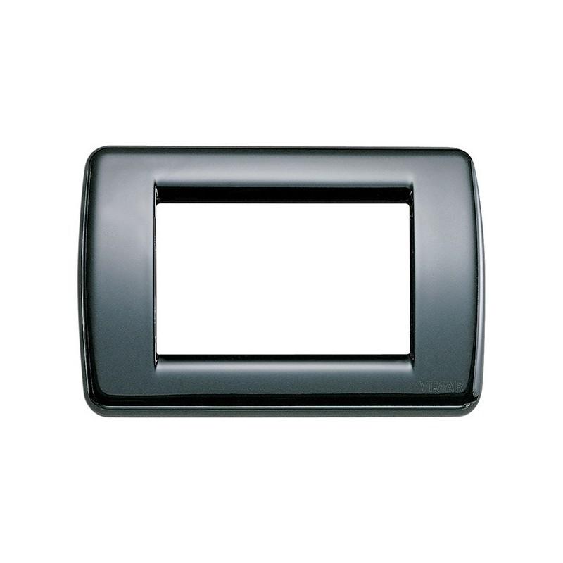 Placca in Metallo Vimar Idea 16753.11 Nera Rondò 3 Moduli prezzi costo costi