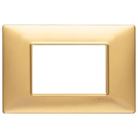 Placca Oro Opaco 3 Posti Vimar Plana 14653.25 Tecnopolimero