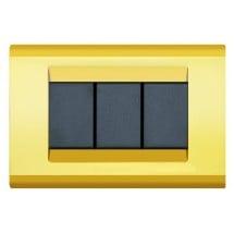 Placca Compatibile con Bticino Living Classic Oro 3 4 Posti Tecnopolimero