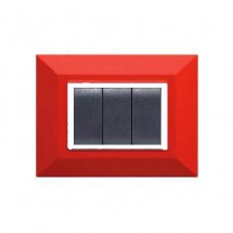 Placca Compatibile Gewiss Chorus Rossa Rubino 3, 4, 7 Posti Tecnopolimero