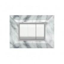 Placca Compatibile Gewiss Chorus Marmo Carrara 3, 4, 7 Posti Tecnopolimero