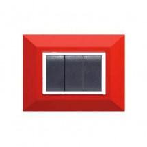 Placca Compatibile Bticino Luna Rossa Rubino 3, 4, 7 Posti Tecnopolimero